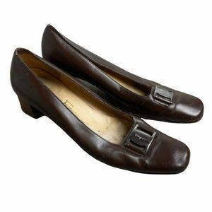 SALVATORE FERRAGAMO Vintage Brown Leather Heeled Loafers Silver Logo Plate Size9